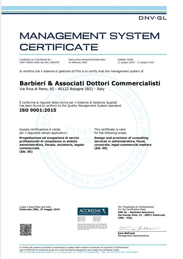 Certificato Qualità Barbieri e Associati Dottori Commercialisti